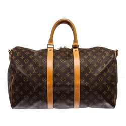 Louis Vuitton Monogram Keepall Bandouliere 45 cm Duffle Bag