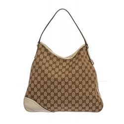Gucci Beige White Canvas Leather Monogram New Britt Hobo Bag