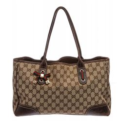 Gucci Brown Beige Monogram Canvas Leather Princy Tote Bag