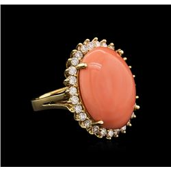 14KT Yellow Gold 13.63 ctw Pink Coral and Diamond Ring