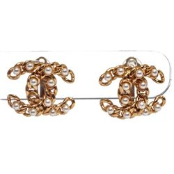 Chanel Gold Chain Link CC Faux Pearl Clip On Earrings 05A