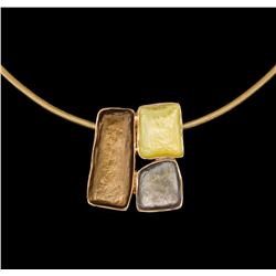 Tri Color Rectangle Pendant Necklace - Rose Gold Plated