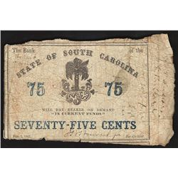 1863 Seventy Five Cents State of South Carolina Obsolete Bank Note