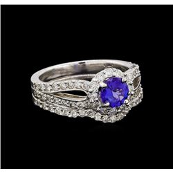 14KT White Gold 0.73 ctw Tanzanite and Diamond Wedding Ring Set