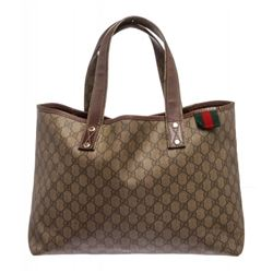 Gucci Brown Beige Coated Canvas Monogram Tote Bag