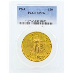 1924 $20 St. Gaudens Double Eagle Gold Coin PCGS MS66