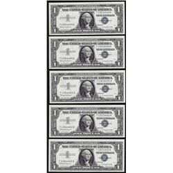 Lot of (5) Consecutive 1957 $1 Silver Certificate Notes Uncirculated