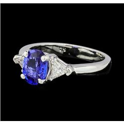 1.26 ctw Blue Sapphire And Diamond Ring - 14KT White Gold