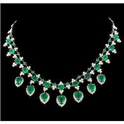 34.17 ctw Emerald and Diamond Necklace - 14KT White Gold