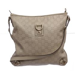 Gucci Ivory Guccissima Monogram Leather Crossbody Messenger Bag