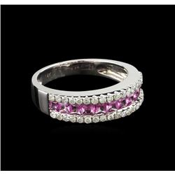 0.88 ctw Pink Sapphire and Diamond Ring - 14KT White Gold