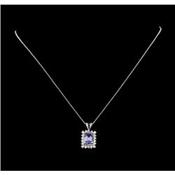 14KT White Gold 1.89 ctw Tanzanite and Diamond Pendant With Chain