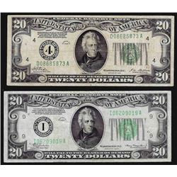 Lot of (2) 1928 & 1934 $20 Federal Reserve Notes