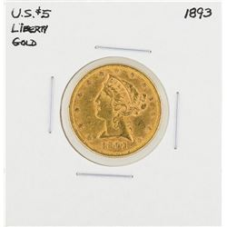 1893 $5 Liberty Head Half Eagle Gold Coin
