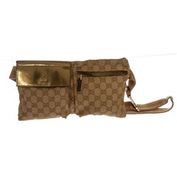 Gucci White Brown Canvas Leather Monogram Waist Belt Bag