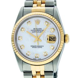 Rolex Mens 36mm Two Tone Yellow Gold MOP Diamond DateJust Wristwatch