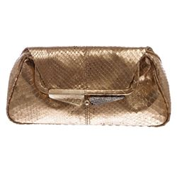Fendi Rose Gold Snakeskin Small Clutch Handbag