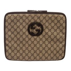 Gucci Brown Monogram Coated Canvas Leather Trim Laptop Case