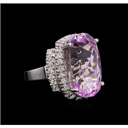14KT White Gold GIA Certified 20.25 ctw Kunzite and Diamond Ring
