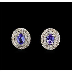 14KT White Gold 1.40 ctw Tanzanite and Diamond Earrings
