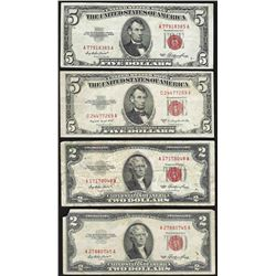 Lot of (2) 1953 $2 and (2) 1953 $5 Legal Tender Notes