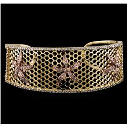 2.25 ctw Diamond Cuff Bracelet - 14KT Yellow and Rose Gold