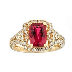 1.72 ctw Rubellite and Diamond Ring - 14KT Yellow Gold