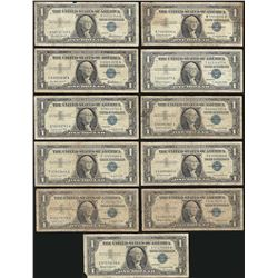 Lot of (12) 1957 $1 Silver Certificate Notes