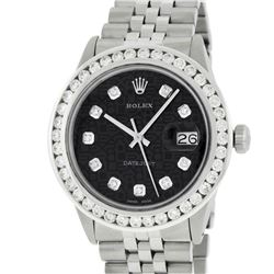 Rolex Mens Stainless Steel 3.15 ctw Black Diamond Datejust Wristwatch