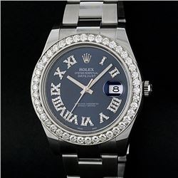 Rolex Stainless Steel Black Roman Diamond 3.50 ctw DateJust Men's Watch