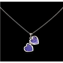 14KT White Gold Heart Locket Pendant With Chain
