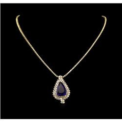14KT Yellow Gold 23.05 ctw GIA Certified Tanzanite and Diamond Necklace