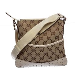 Gucci Brown Monogram Canvas Perforated Leather Trim Crossbody Handbag