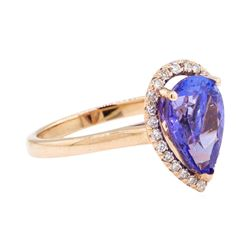 2.97 ctw Tanzanite And Diamond Ring - 14KT Rose Gold