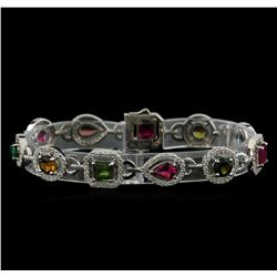 8.94 ctw Multicolor Tourmaline and Diamond Bracelet - 14KT White Gold