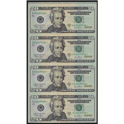 Uncut Sheet of (4) 2004 $20 Federal Reserve STAR Notes