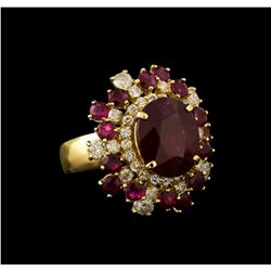 14KT Yellow Gold 10.52 ctw Ruby and Diamond Ring