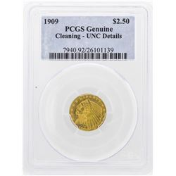 1909 $2 1/2 Indian Head Quarter Eagle Gold Coin PCGS Genuine UNC Details