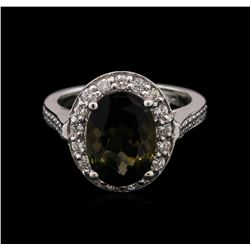 4.35 ctw Green Tourmaline and Diamond Ring - 14KT White Gold