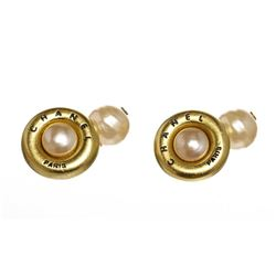 Chanel Gold Faux Pearl Cufflinks