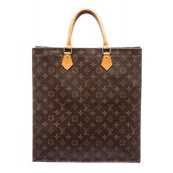 Louis Vuitton Monogram Canvas Leather Sac Plat Tote Bag