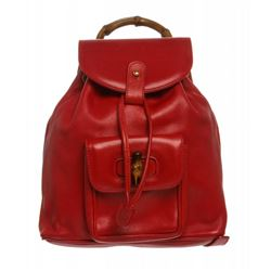 Gucci Red Leather Drawstring Bamboo Mini Backpack