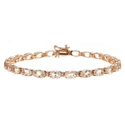 11.71 ctw Morganite and Diamond Bracelet - 14KT Rose Gold