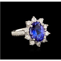 14KT White Gold 3.69 ctw Tanzanite and Diamond Ring