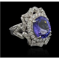 6.02 ctw Tanzanite and Diamond Ring - 14KT White Gold