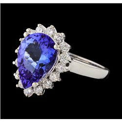 3.36 ctw Tanzanite and Diamond Ring - 14KT White Gold