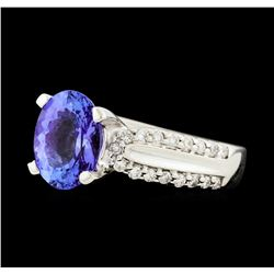 2.03 ctw Tanzanite and Diamond Ring - 14KT White Gold