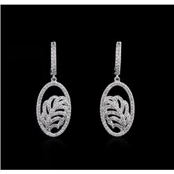 1.03 ctw Diamond Dangle Earrings - 14KT White Gold