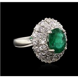 3.02 ctw Emerald and Diamond Ring - 14KT White Gold