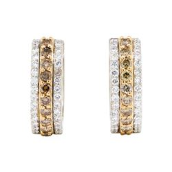 1.40 ctw Brown and White Diamond Earrings - 18KT Rose And White Gold